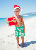 Little boy in santa hat — 图库照片