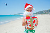 Little boy in santa hat — Foto de Stock