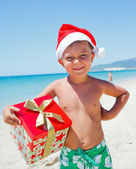 Little boy in santa hat — Stockfoto