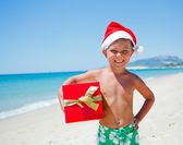 Little boy in santa hat — Stock fotografie