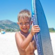 Boy has fun with the surfboard — Stock Photo #37466709