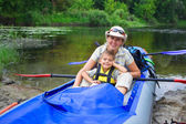 Family kayaking — Stock fotografie