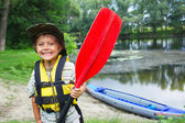 Boy kayaking — Stock Photo