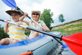 Family kayaking — Stock Photo