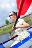 女子皮划艇 — 图库照片
