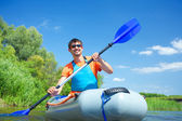 Man kayaking — Stock Photo