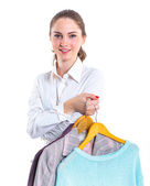 Teenage girl with clothes — Stock Photo