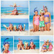 Three happy children on beach... — Stock Photo