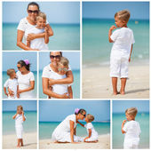 Mother and son having fun on the beach — Stock Photo