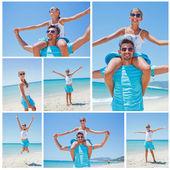 Pai e filha na praia — Foto Stock