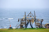 Trestles for hanging up fish to dry. — Stock Photo