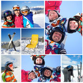 Skiing, winter, family — Photo