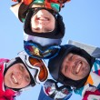 Skiing, winter fun - skiers enjoying ski holidays — Stock Photo