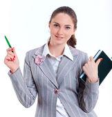 University girl holding books — Stock Photo