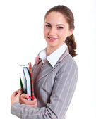 University girl holding books — Stock Photo