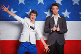 Patriotic teenagers boy — Stock Photo