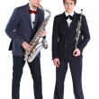 Boys with saxophone and clarinet — Stock Photo