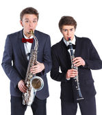 Boys with saxophone and clarinet — Foto Stock