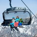 Skiers on a ski lift. — Stock Photo #40248257