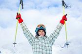 幸せな若いスキーヤー — ストック写真
