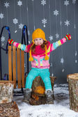 Funny girl in winter clothes. — Stock Photo
