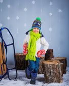 Funny boy in winter clothes — Stock Photo