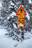 Snowy arctic winter road. — Stock fotografie