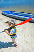 Boy kayaking — Stock Photo