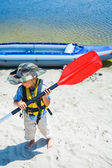Boy kayaking — Zdjęcie stockowe
