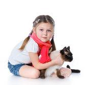 Liten flicka och katt — Stockfoto