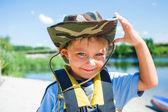 Chlapec na kajaku — Stock fotografie