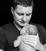 Father and newborn baby boy — Stock Photo