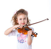 Girl little violinist — Stock Photo