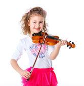 Girl little violinist — Stock Photo