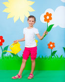 Young girl in summer studio — Stock Photo