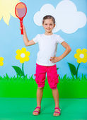 Young girl in summer studio — Stock Photo