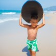 Boy has fun with the surfboard — Stock Photo #44712839