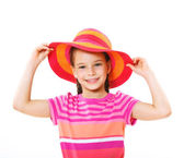 Little girl in hat. — Stock Photo