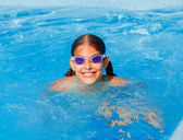 Funny girl swims. — Stock Photo