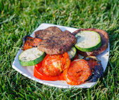 Plate of grilled meat and vegetables — Stock Photo