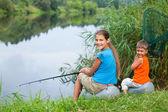 Kids fishing — Stock Photo