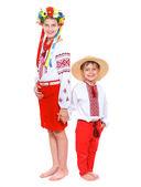 Kız ve oğlan ulusal ukrayna kostüm — Stok fotoğraf