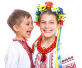 Girl and boy in the national Ukrainian costume — Stock Photo