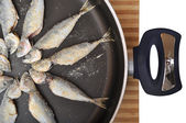 Fresh fish and teflon pans — Stock Photo