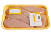 Packaged raw chicken — Stock Photo