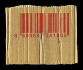 Cardboard and barcode — Stock fotografie
