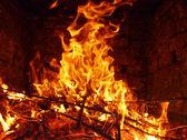 Fire in brick stove — Stock Photo