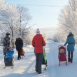 Winter walk on sled — Stock Photo