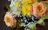 Spring beautiful bouquet natural colour on dark background — Stockfoto