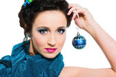 Beautiful girl with New Year's accessoties — Stok fotoğraf